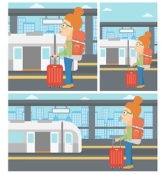 Woman at the train station vector