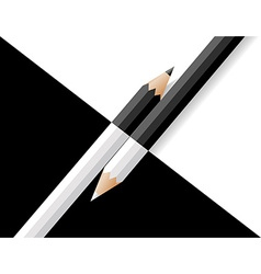 Black and white pencils lie on a black and white vector