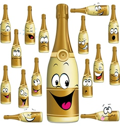 Bottle of champagne funny cartoon vector