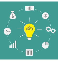 Business icon set Light bulb idea incide dash line vector image vector image