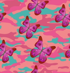 Butterfly on the pink military background pattern vector