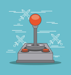 Classic joystick buttons video game gadget vector