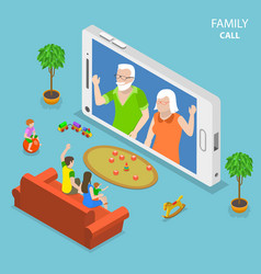 Family call flat isometric concept vector