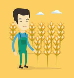 farmer in wheat field vector image