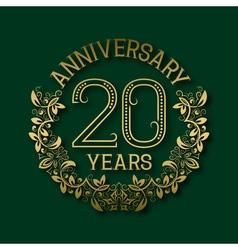 Golden emblem of twentieth years anniversary vector image vector image