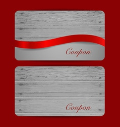 Holiday gift coupons with red ribbons vector
