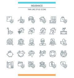 icons set on theme insurance2 vector image vector image