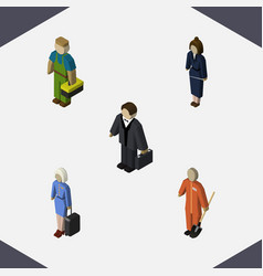 Isometric people set of businesswoman cleaner vector