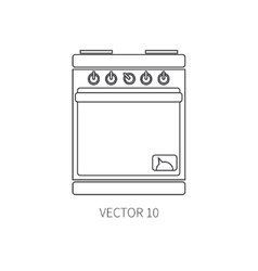Line flat kitchenware icons - oven cutlery vector