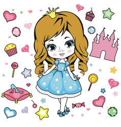 little girl design elements vector image vector image
