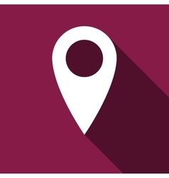 Map pin icon with long shadow vector image