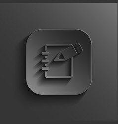 Notepad icon - black app button vector image vector image