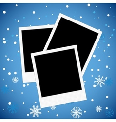 Photo frame on a snowy background vector image vector image