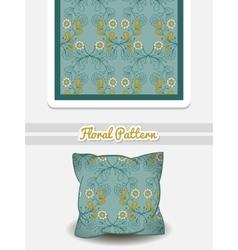 Pillow blue flowers vector