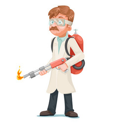 Radical cleaning mad scientist with flamethrower vector