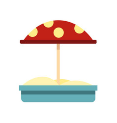 Sandbox with red dotted umbrella icon flat style vector