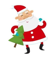Santa Claus with Christmas tree isolated on white vector image