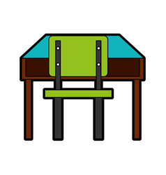 School chair and desk isolated icon vector