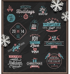 Set of christmas signs emblems and greetings vector