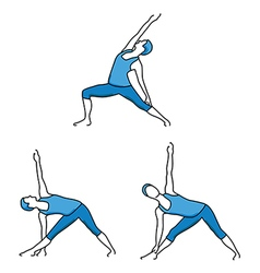 Silhouettes of girl stretching and exercise vector