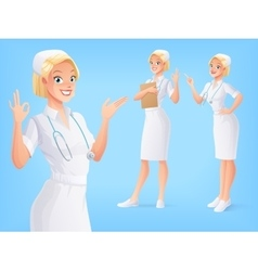 Smiling medical nurse in uniform in various poses vector