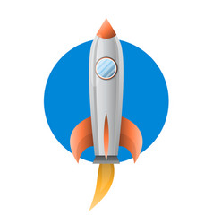 Space metal rocket with blue pothold flies up vector