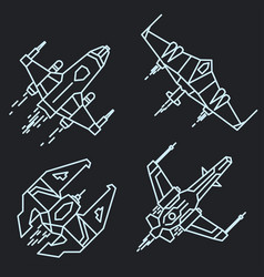spaceship outline linear flying rocket vector image vector image