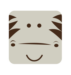 Square zebra animal face expression vector