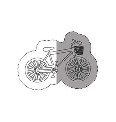 Sticker contour of bike of girl with basket vector