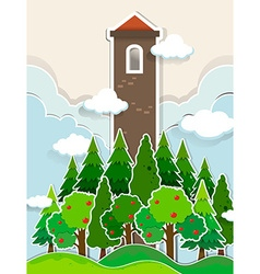 Tall tower in the jungle vector