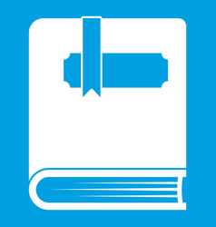 Thick book with bookmark icon white vector