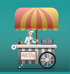 urban kiosk for sale hotdogs vector image vector image