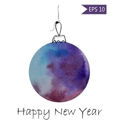 Watercolor christmas bauble colorful on white vector