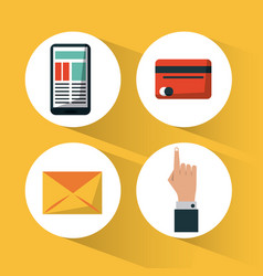 yellow background with icons set for shopping vector image