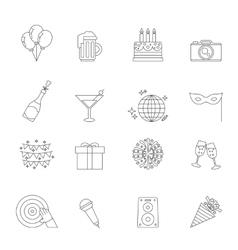Celebration linear icons vector