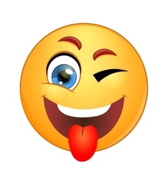 Yellow smiley winking and showing tongue vector