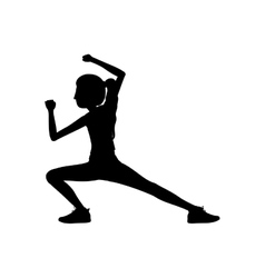 Silhouette woman martial arts kick down vector