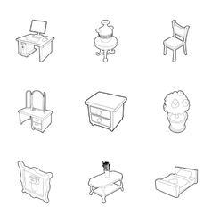 Type of furniture icons set outline style vector