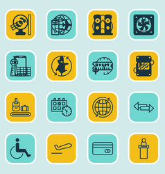 set of 16 airport icons includes registration vector image