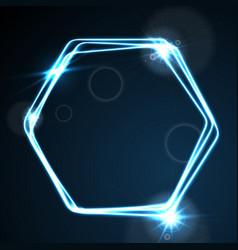 Glow blue neon hexagon shiny design vector