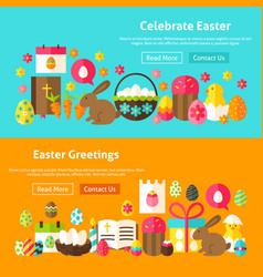Happy easter website banners vector