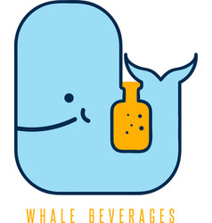 Whale with negative space bottle design template vector