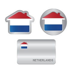Home icon on the netherlands flag vector