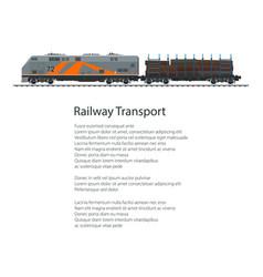 Poster locomotive with railway platform vector