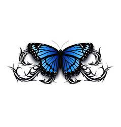 Realistic butterfly icon on top of abstract tribal vector