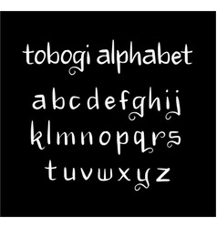 Tobogi alphabet typography vector