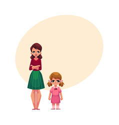 young mother and little daughter standing with vector image