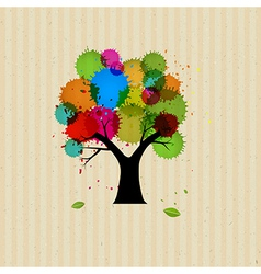 Abstract tree with colorful blob vector