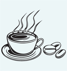 Coffee cup and beans vector