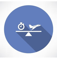 Clock and airplane on the scales icon vector